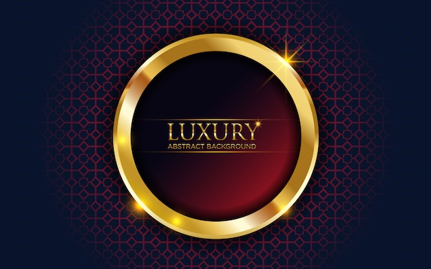 Luxury dark red abstract background with golden circle