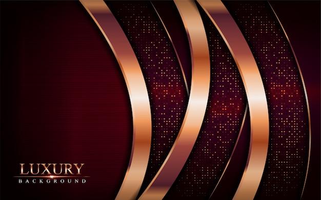 럭셔리 어두운 빨간색 배경은 황금 청동 라인 요소와 결합합니다.
