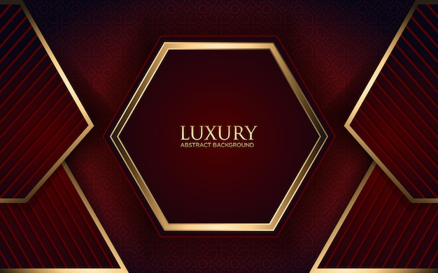 Luxury dark red background with geometric shape and golden stripe