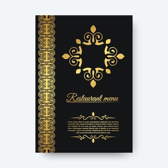 Luxury dark restaurant menu with logo ornament