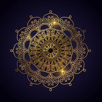 Luxury decoration of mandala flowers with shiny gold color. yoga template. relax, islamic, arabesques, indian, turkey.