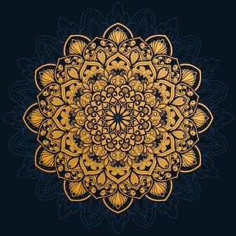 Luxury decoration of mandala flowers with shiny gold color.