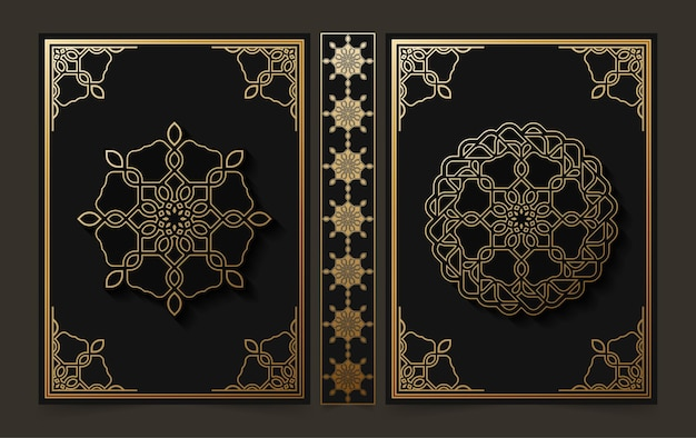 럭셔리 장식 만다라 책 표지 디자인