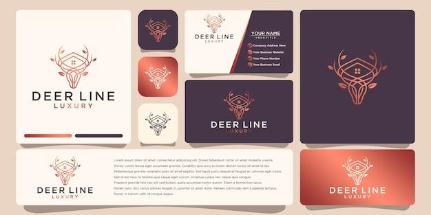 豪華な鹿のロゴ、ラインアートスタイルとゴールドカラー、ロゴデザインのインスピレーション、名刺デザイン