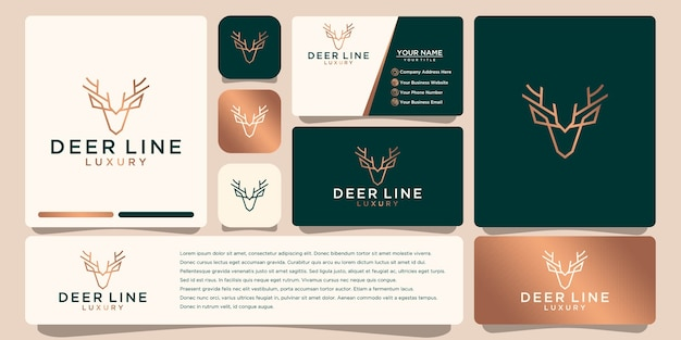 Luxury deer logo, with line art style and gold color,   logo design inspiration, with business card design