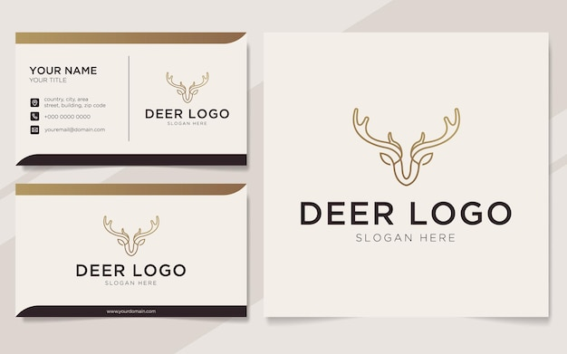 Luxury deer outline logo and business card template