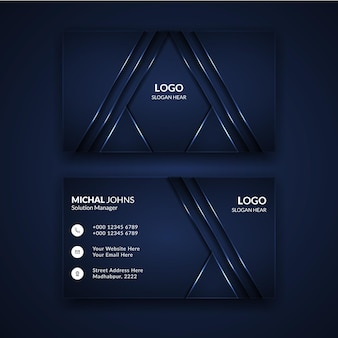 Luxury design business card template in black color.