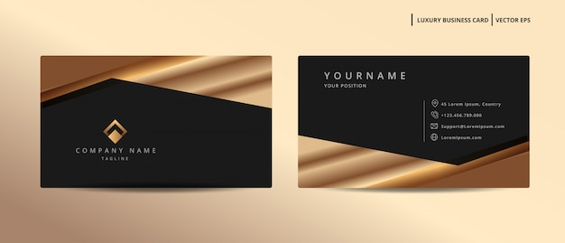 Luxury design business card with gold style minimalist template