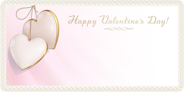 Luxury design of invitation card for happy valentine's day, affiance and wedding. pink and white empty envelope is decorated with a two ivory hearts and retro border. 3d realistic gem pendant.