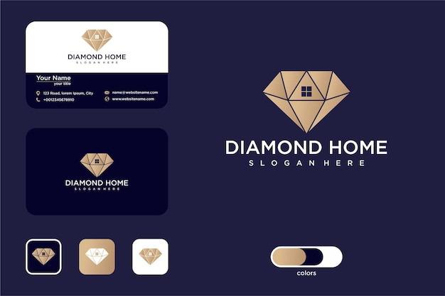 Luxury diamond and house logo design and business card
