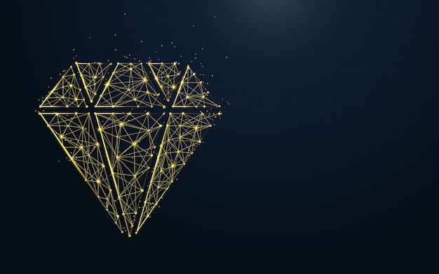 Luxury diamond icon from lines and particle