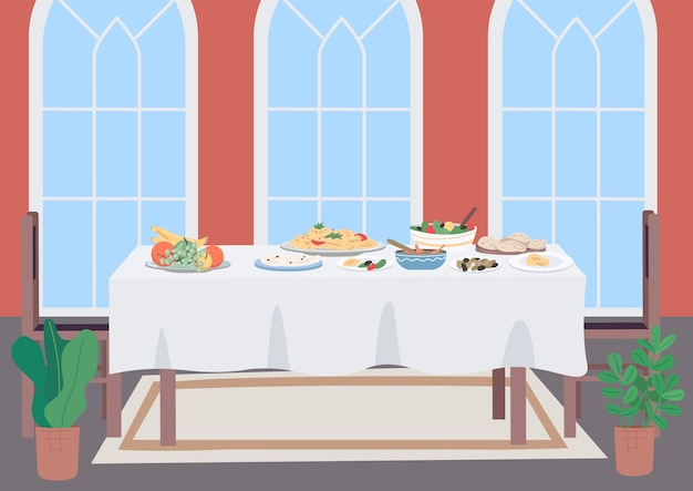Luxury dinner table flat color illustration. living room for family traditional meal. national culinary. dishes with food and drinks. furniture 2d cartoon object with interior on background