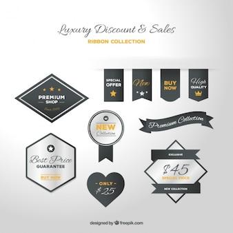 Luxury discount badges with orange details