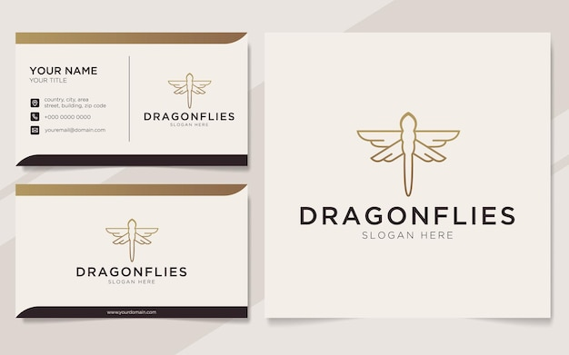 Luxury dragonflies logo and business card template