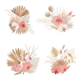 豪華なドライブーケ、ドライプロテアの花、熱帯のヤシの葉、淡い蘭、ユーカリ、花の要素。トレンディな冬、秋の結婚式のコンセプトのヴィンテージの装飾。ベクトル分離イラストセット
