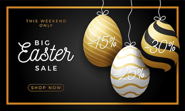 Luxury easter egg sale horizontal banner. golden easter frame card with realistic eggs that hang on a thread, gold ornate eggs