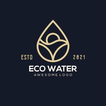 あなたの会社のための豪華なエコウォーターのロゴのイラスト