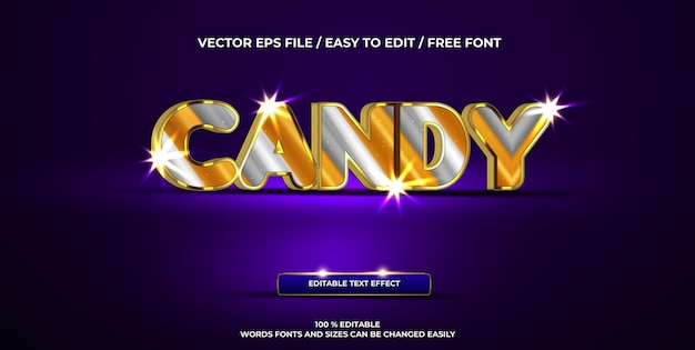 Роскошный редактируемый текстовый эффект конфеты 3d текстовый стиль