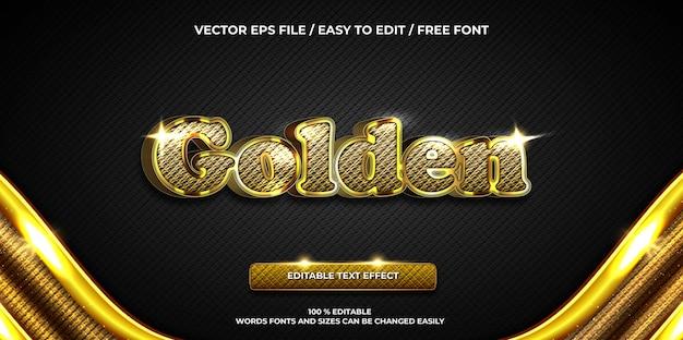 Роскошный редактируемый текстовый эффект золотой 3d текстовый стиль
