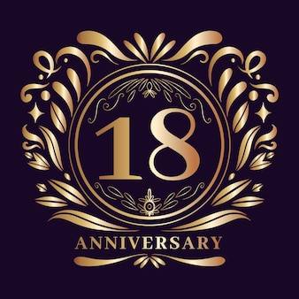 Luxury eighteenth anniversary logo