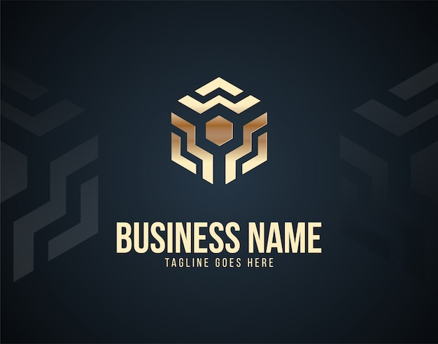 Luxury electro cube logo template design vector with gold color effects