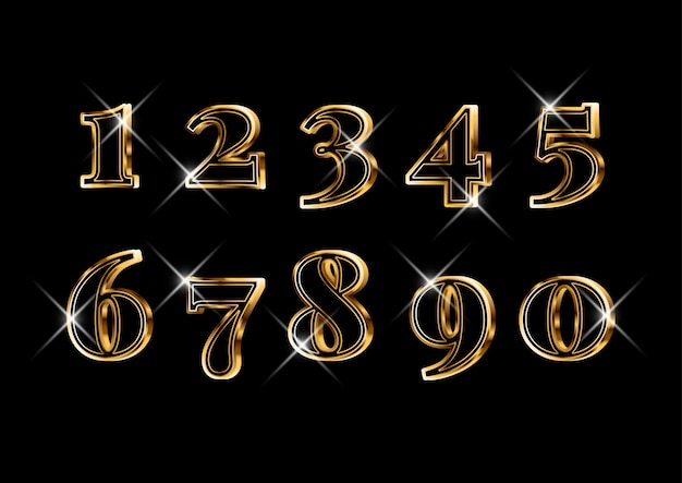 Luxury elegant 3d gold numbers set