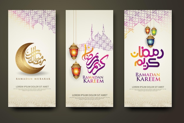 Luxury and elegant banner set template, ramadan kareem with calligraphy islamic, crescent moon, traditional lantern and mosque pattern