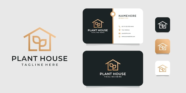 Luxury elegant essential house logo with business card design   template.