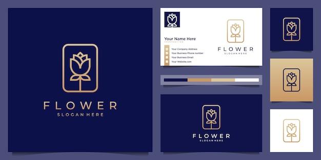 豪華でエレガントなフラワーローズのシンボルのロゴのデザインと名刺