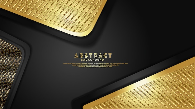 Luxury and elegant gold and black overlap layers background with glitters effect