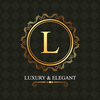 Luxury and elegant golden l round frame