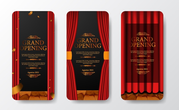 Luxury elegant grand opening social media stories template with red curtain at stage theater with golden confetti and dark background