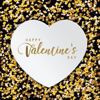 Luxury elegant happy valentine day glitter gold heart