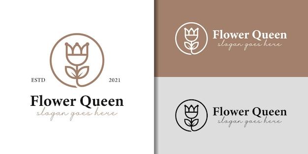 あなたのブランドのための花または花のロゴと豪華なエレガントなラインアートスタイルのバラの女王