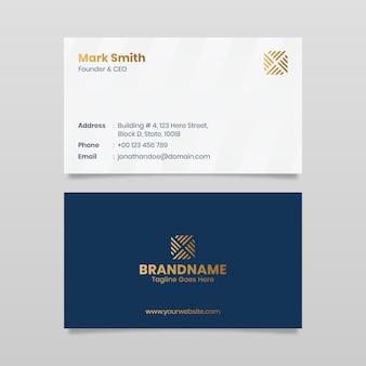 럭셔리 우아한 최소한의 파란색과 흰색 현대 기업 명함 템플릿 디자인