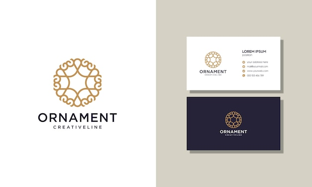 Luxury elegant outline decoration ornament logo with a business card