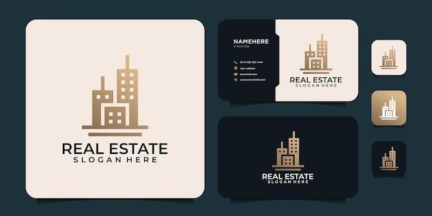 シンボルとブランディングのための豪華でエレガントな不動産都市のロゴベクトルデザインのインスピレーション