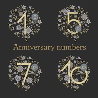 Luxury elegant sophisticated numbers on floral background for anniversary.