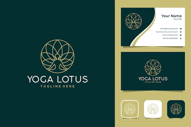 Luxury and elegant yoga with lotus line art logo design and business card