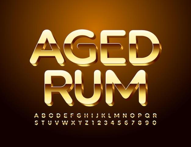 럭셔리 엠블럼 aged rum. 글로시 골드 글꼴. 3d 프리미엄 알파벳 문자 및 숫자 세트