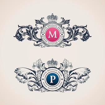 레스토랑과 부티크를 위한 럭셔리 엠블럼 패션 로고 디자인 아이덴티티