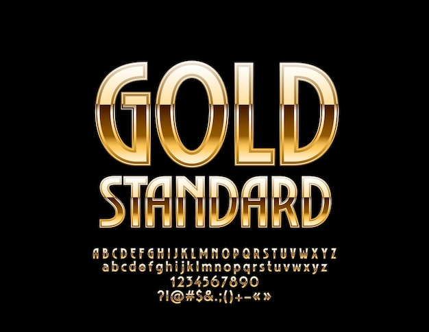 Luxury emblem gold standard chic  alphabet letters numbers and symbols elite glossy font