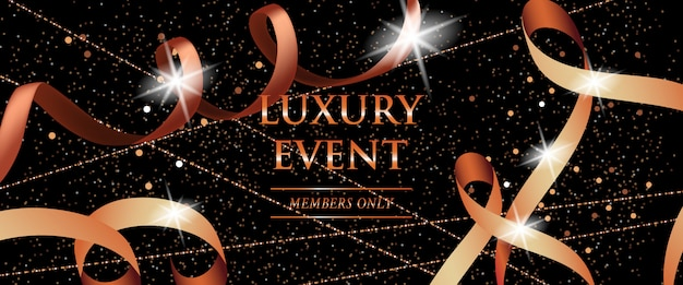 Luxury event members only festive banner with curled ribbons