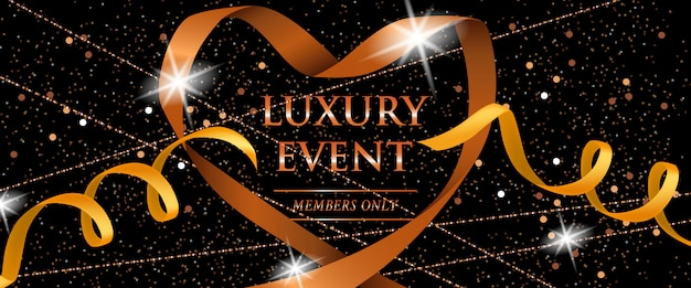 Luxury event members only festive banner with ribbons, glitter