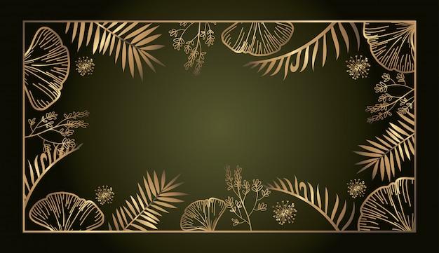 고급 이국적인 식물학 황금 사각형 프레임 배경