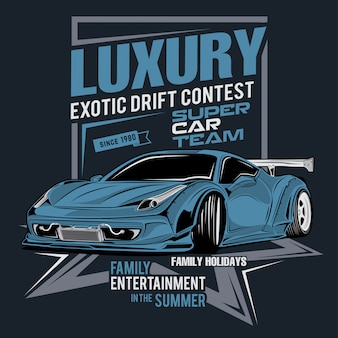 Luxury and exotic drift contest, vector car illustration