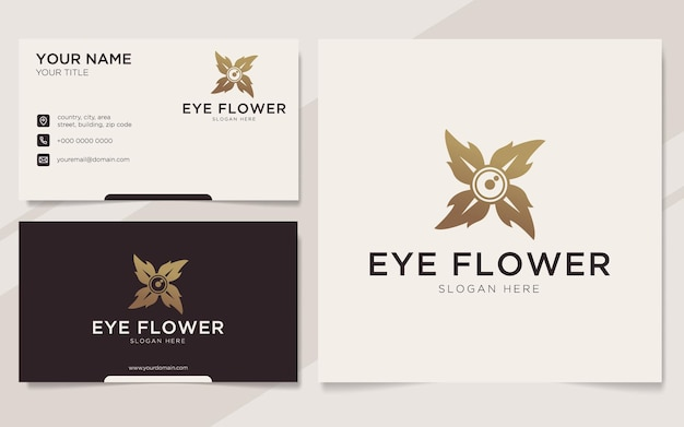 Luxury eye flower logo and business card template