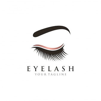 Luxury eyelash glamour logo vector template