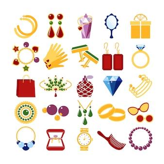 高級ファッションのアイコン。宝石とブレスレット、ブローチと小物、エメラルドと手袋、ベクトル図