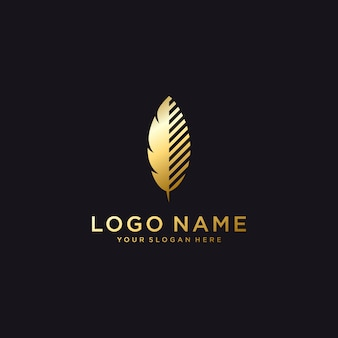 Luxury feather logo template